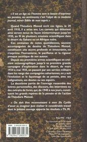 Les Carnets De Theodore Monod - 4ème de couverture - Format classique