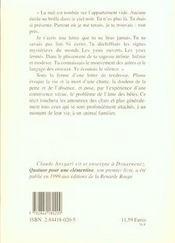 Plume Lettre A Un Chat Disparu - 4ème de couverture - Format classique