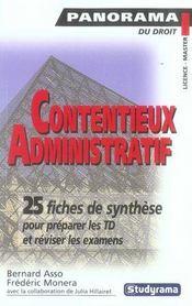 Contentieux Administratif ; 25 Fiches De Synthese Pour Preparer Les Td Et Reviser Les Examens - Intérieur - Format classique