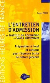 L'Entretien D'Admission En Institut De Formation En Soins Infirmiers - Intérieur - Format classique