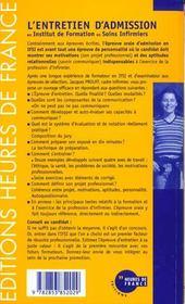 L'Entretien D'Admission En Institut De Formation En Soins Infirmiers - 4ème de couverture - Format classique