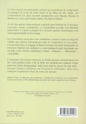 Vocabulaire De La Musique De L'Epoque Classique - 4ème de couverture - Format classique