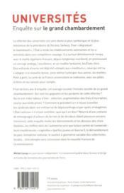 Universités ; enquête sur le grand chambardement - 4ème de couverture - Format classique