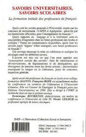 Savoirs Universitaires, Savoirs Scolaires ; La Formation Initiale Des Professeurs De Francais - 4ème de couverture - Format classique