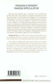 Passion D'Argent ; Raison Speculative - 4ème de couverture - Format classique