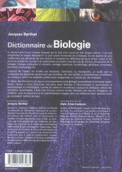 Dictionnaire de biologie - 4ème de couverture - Format classique