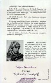 Journal nationalité : immigré(e) - 4ème de couverture - Format classique