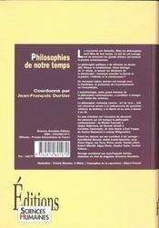 Philosophies de notre temps - 4ème de couverture - Format classique