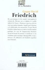 Caspar David Friedrich - 4ème de couverture - Format classique
