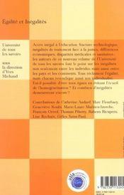Egalites et inegalites - 4ème de couverture - Format classique