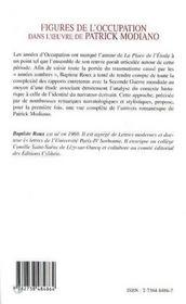 Figures de l'occupation dans l'oeuvre de Patrick Modiano - 4ème de couverture - Format classique