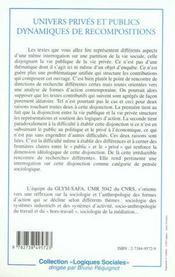 Univers Prives Et Publics ; Dynamiques De Recompositions - 4ème de couverture - Format classique