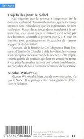 Trop belles pour le nobel ; les femmes et la science - 4ème de couverture - Format classique