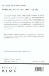 Foucault, La Litterature Et Les Arts - 4ème de couverture - Format classique