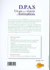 Dpas 1 An Pour Reussir Sa Formation - 4ème de couverture - Format classique
