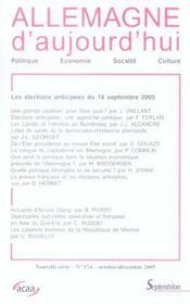 Revue Allemagne D'Aujourd'Hui N.174 ; Le Cinéma Allemand Dans Son Contexte Economique - Intérieur - Format classique