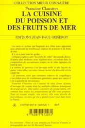 La Cuisine Du Poisson Et Des Fruits De Mer - 4ème de couverture - Format classique
