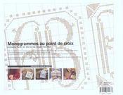 Monogrammes Au Point De Croix - 4ème de couverture - Format classique