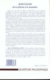 Jean Calvin ; de la réforme à la révolution - 4ème de couverture - Format classique