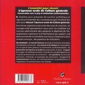 L'Essentiel Pour Reussir L'Epreuve Orale De Culture Generale - 4ème de couverture - Format classique
