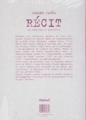 Récit, les cinq états du manuscrit - 4ème de couverture - Format classique