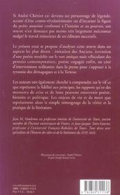 Andre Chenier,Poesie Et Politique - 4ème de couverture - Format classique