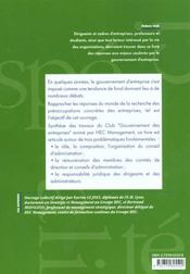 Gouvernement D'Entreprise Debats Theoriques Et Pratiques Specialite Groupe Hec - 4ème de couverture - Format classique