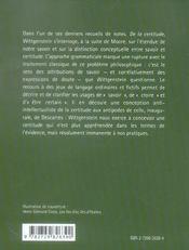 De La Certitude Wittgenstein - 4ème de couverture - Format classique