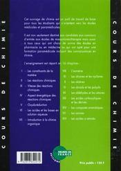 Cours De Chimie - 4ème de couverture - Format classique