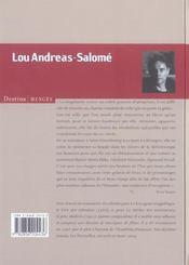 Lou Andréas-Salomé - 4ème de couverture - Format classique
