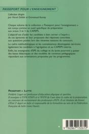 Passeport lutte ; oral 3 - 4ème de couverture - Format classique