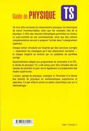 Guide De Physique Ts Resumes Methodes Techniques Vocabulaire - 4ème de couverture - Format classique