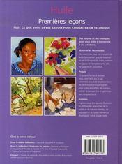 Huile ; premières leçons - 4ème de couverture - Format classique