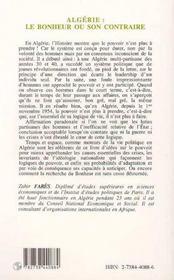 Algérie ; le bonheur ou son contraire - 4ème de couverture - Format classique