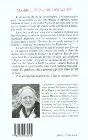 Algerie ; Memoire Deracinee - 4ème de couverture - Format classique
