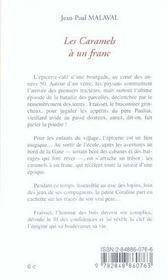 Les Caramels A Un Franc - 4ème de couverture - Format classique