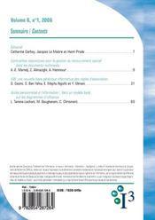Revue I3 ; Information, Interaction, Intelligence T.6 (Edition 2006) - 4ème de couverture - Format classique