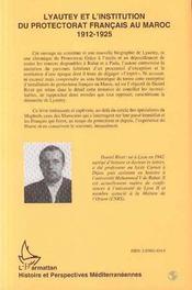 Lyautey Et L'Institution Du Protectorat Francais Au Maroc, 1912-1925 T.2 - 4ème de couverture - Format classique