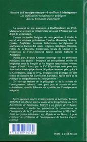 Histoire De L'Ensei(Prive)Gnement Prive Et Officiel A - 4ème de couverture - Format classique