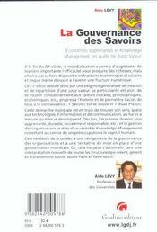 Gouvernance Des Savoirs (La) - 4ème de couverture - Format classique