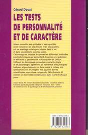 Les Tests De Personnalite Et De Caractere - 4ème de couverture - Format classique