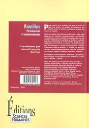 Familles ; permanence et métamorphoses - 4ème de couverture - Format classique