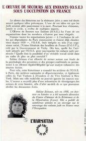 Oeuvre De Secours Aux Enfants (Ose) ... - 4ème de couverture - Format classique