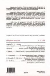 Revue Geographie Et Cultures T.12 - 4ème de couverture - Format classique