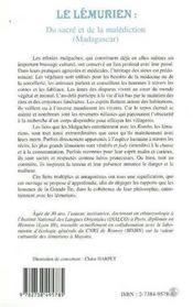 Le Lemurien ; Du Sacre Et De La Malediction ; Madagascar - 4ème de couverture - Format classique