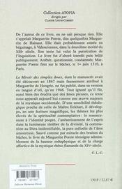Le Miroir Des Simples Ames Aneanties - 4ème de couverture - Format classique