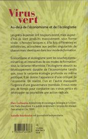 Virus Vert ; Entretiens Avec Isabelle Bourboulon - 4ème de couverture - Format classique