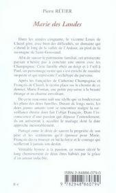 Marie des landes - 4ème de couverture - Format classique