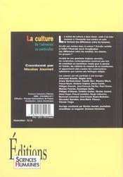 La culture ; de l'universel au particulier - 4ème de couverture - Format classique