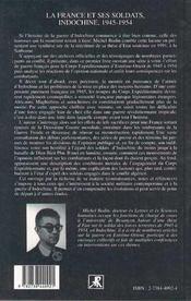 La France Et Ses Soldats, Indochine 1945-1954 - 4ème de couverture - Format classique